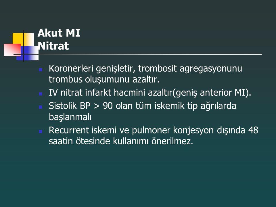 Akut MI Nitrat Koronerleri genişletir, trombosit agregasyonunu trombus oluşumunu azaltır. IV nitrat infarkt hacmini azaltır(geniş anterior MI).