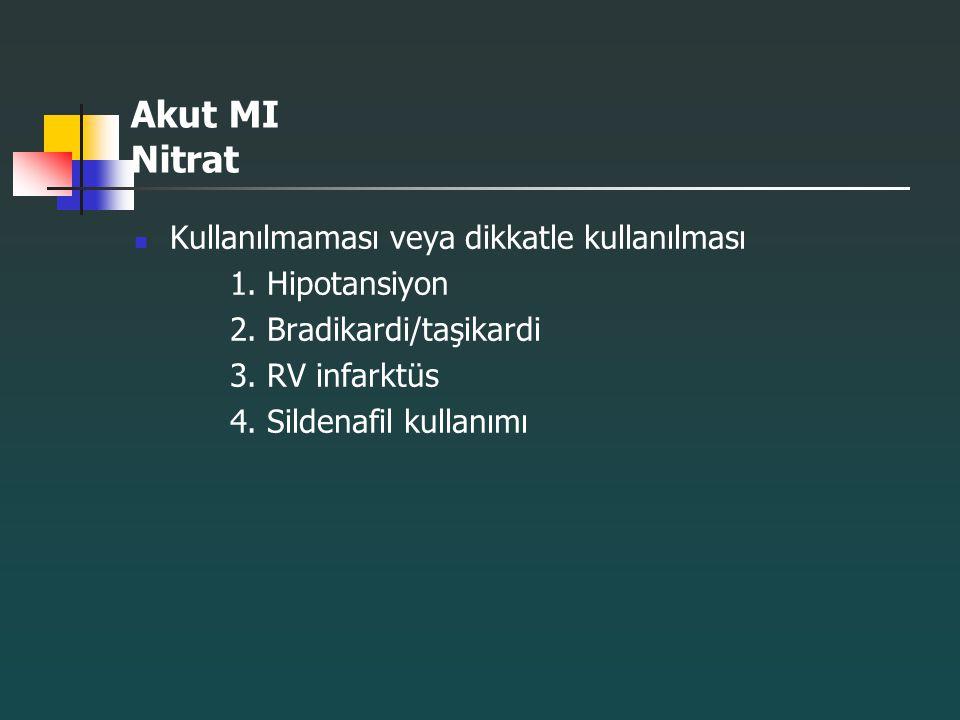 Akut MI Nitrat Kullanılmaması veya dikkatle kullanılması