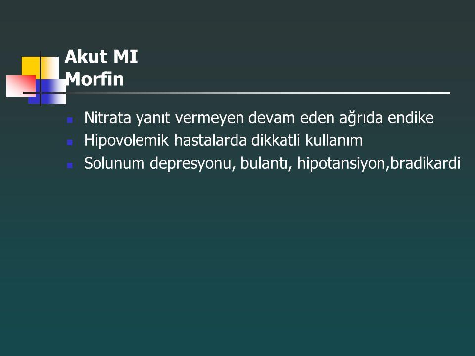 Akut MI Morfin Nitrata yanıt vermeyen devam eden ağrıda endike