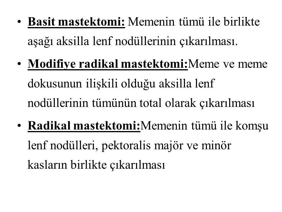 Basit mastektomi: Memenin tümü ile birlikte aşağı aksilla lenf nodüllerinin çıkarılması.
