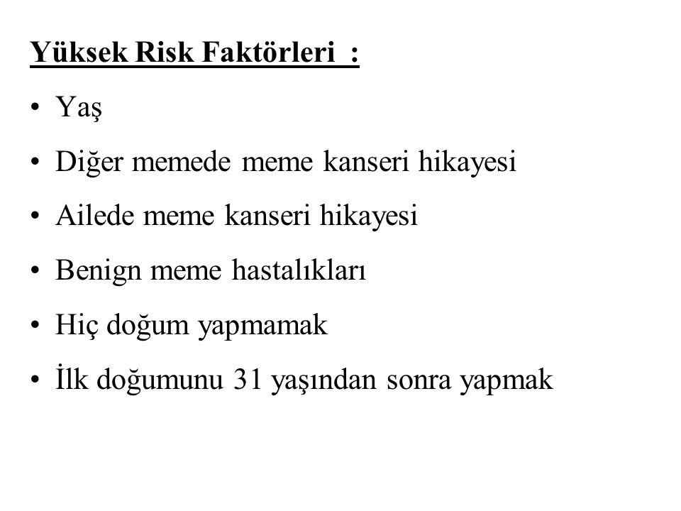 Yüksek Risk Faktörleri :