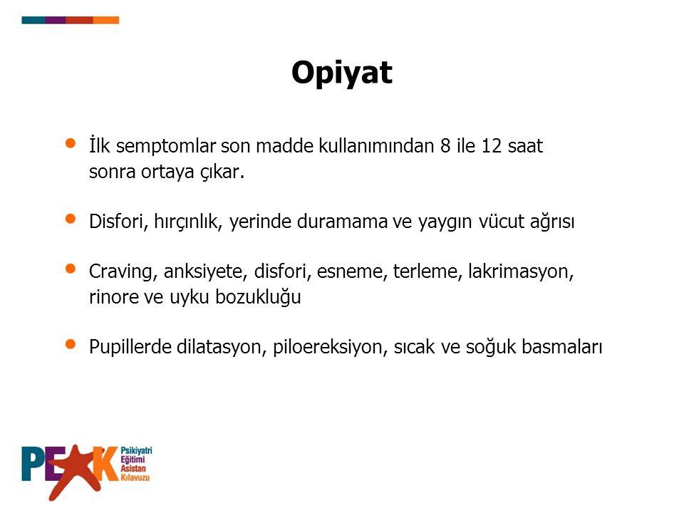 Opiyat İlk semptomlar son madde kullanımından 8 ile 12 saat