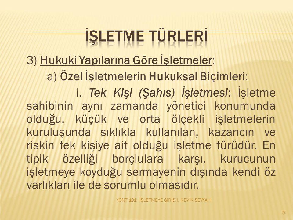 İŞLETME TÜRLERİ