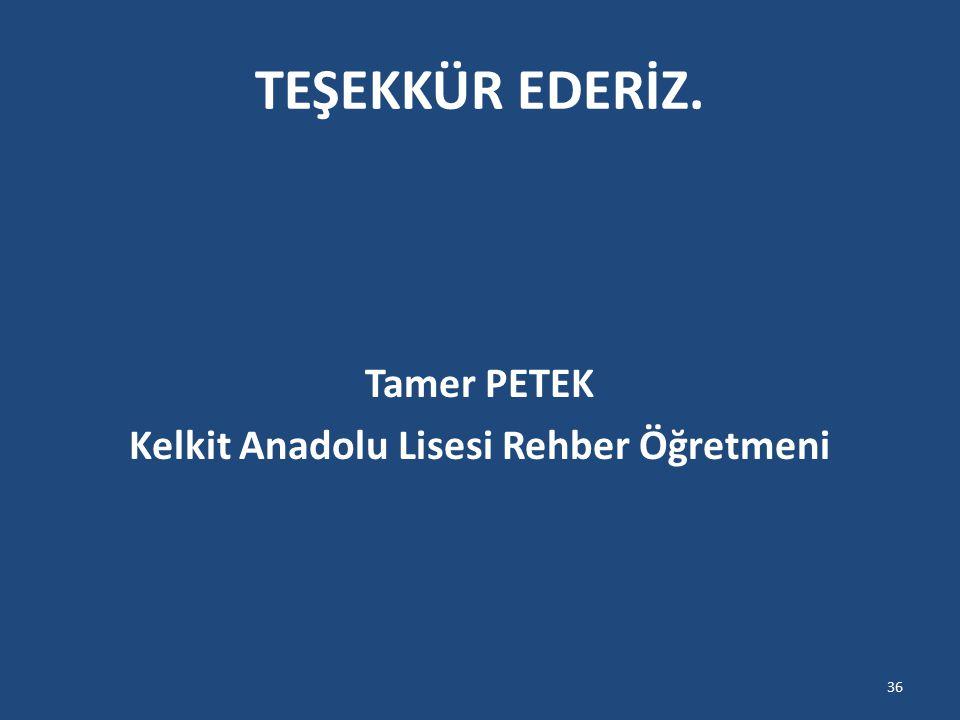 Tamer PETEK Kelkit Anadolu Lisesi Rehber Öğretmeni