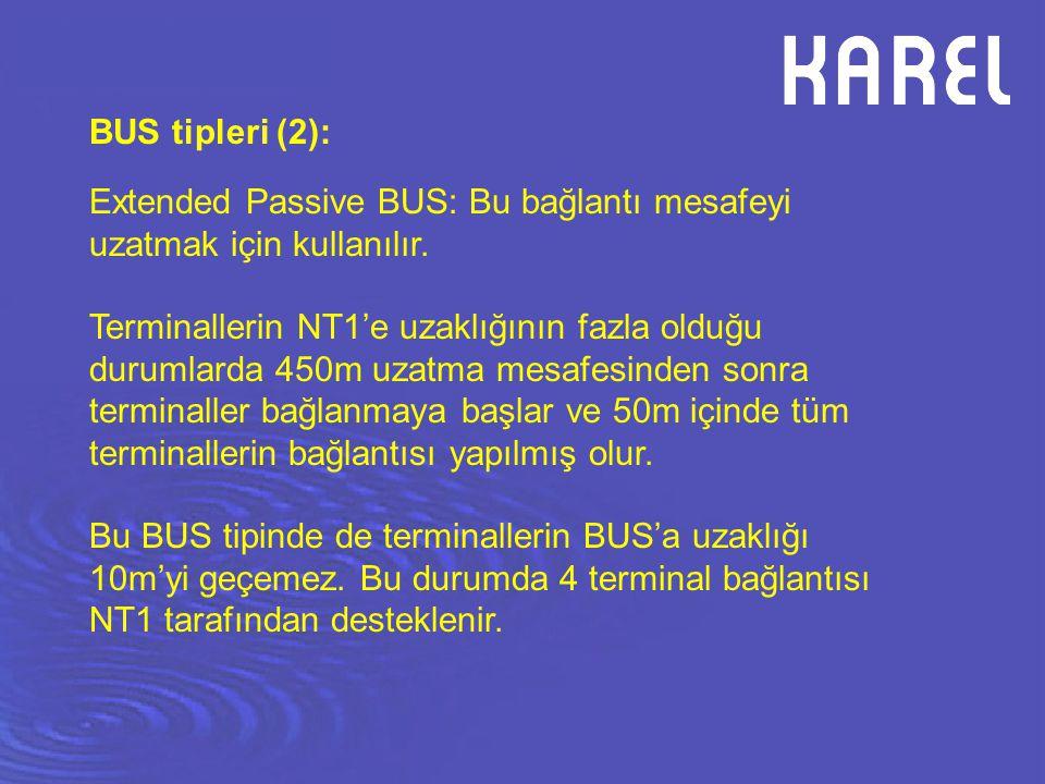 BUS tipleri (2): Extended Passive BUS: Bu bağlantı mesafeyi uzatmak için kullanılır.