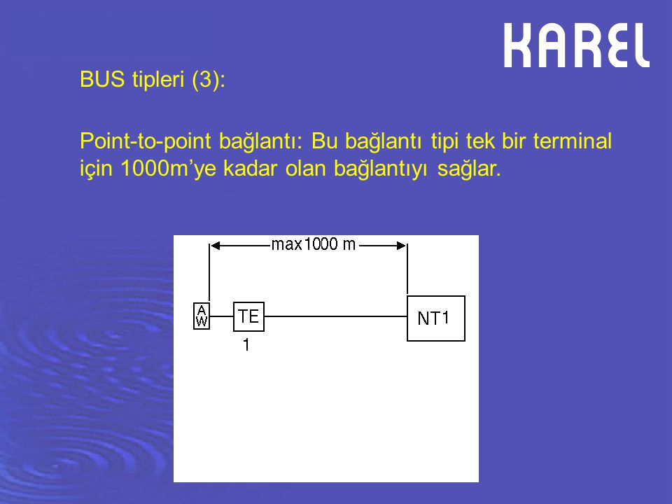 BUS tipleri (3): Point-to-point bağlantı: Bu bağlantı tipi tek bir terminal için 1000m'ye kadar olan bağlantıyı sağlar.
