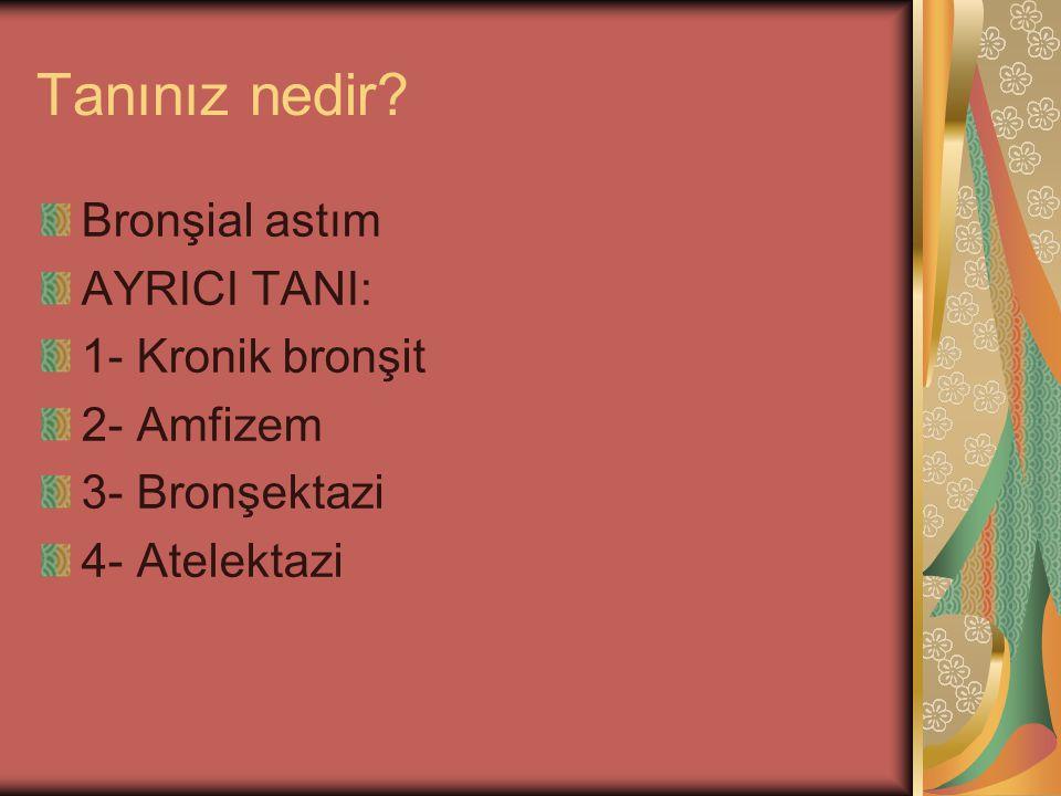 Tanınız nedir Bronşial astım AYRICI TANI: 1- Kronik bronşit