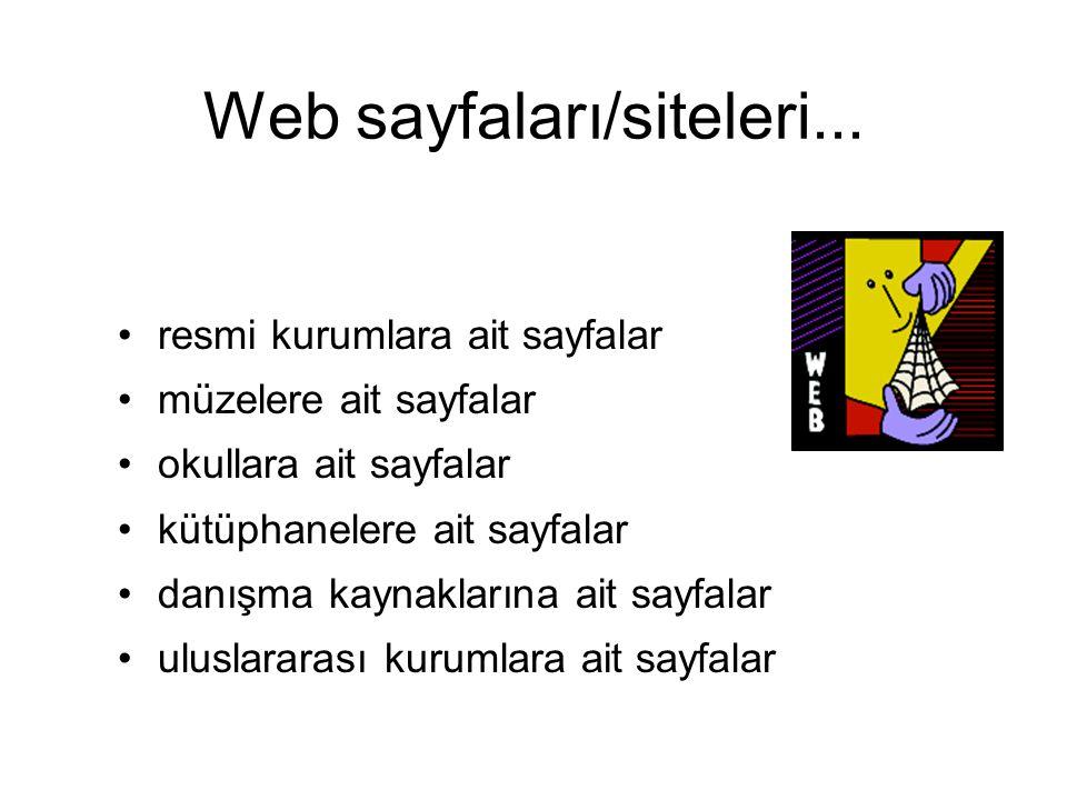 Web sayfaları/siteleri...