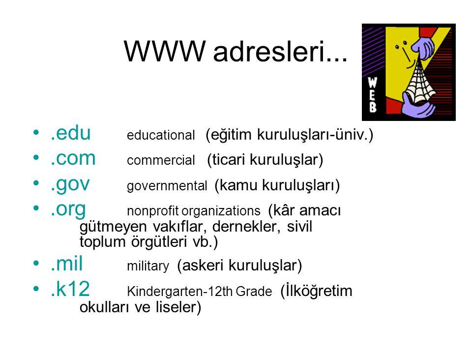 WWW adresleri... .edu educational (eğitim kuruluşları-üniv.)
