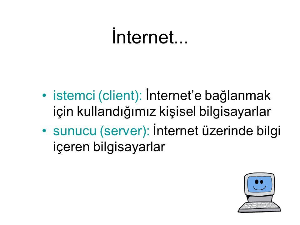 İnternet... istemci (client): İnternet'e bağlanmak için kullandığımız kişisel bilgisayarlar.