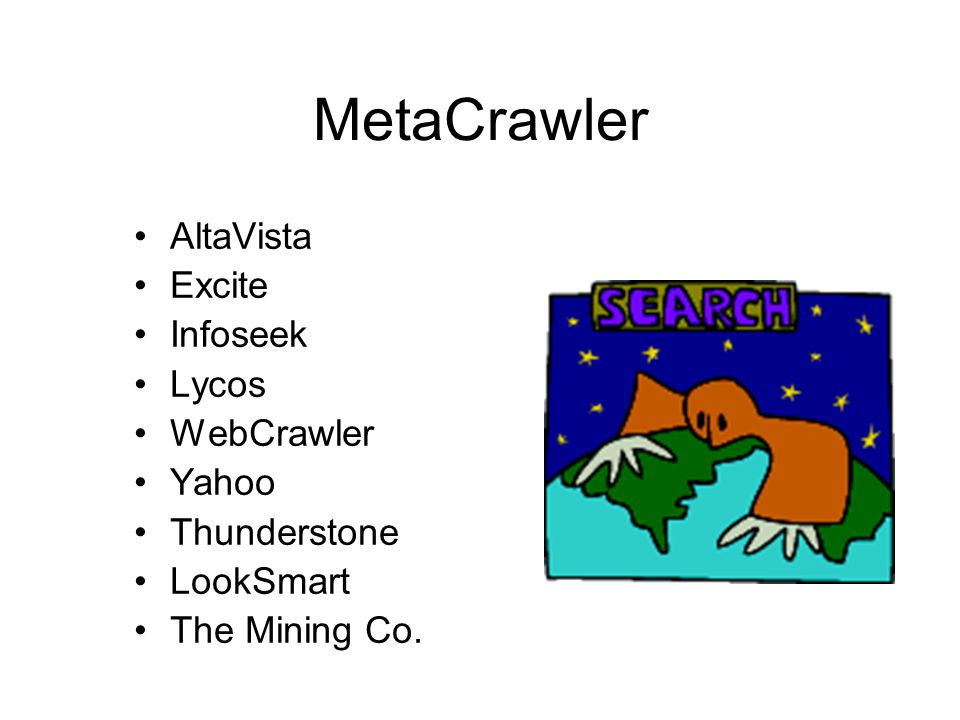 MetaCrawler AltaVista Excite Infoseek Lycos WebCrawler Yahoo