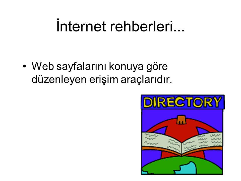 İnternet rehberleri... Web sayfalarını konuya göre düzenleyen erişim araçlarıdır.
