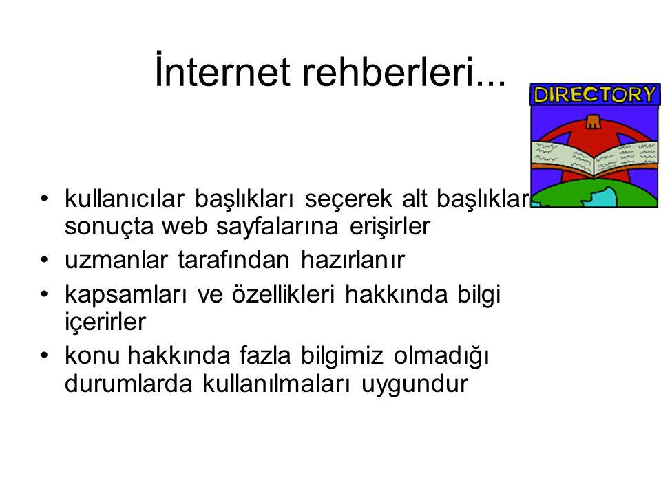 İnternet rehberleri... kullanıcılar başlıkları seçerek alt başlıklara ve sonuçta web sayfalarına erişirler.