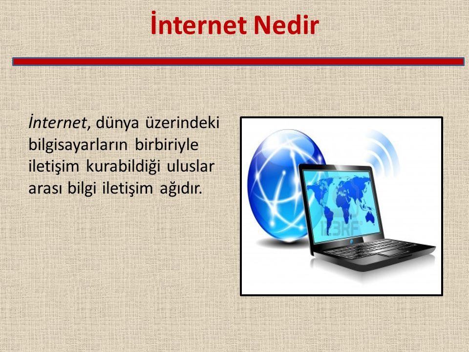 İnternet Nedir İnternet, dünya üzerindeki bilgisayarların birbiriyle iletişim kurabildiği uluslar arası bilgi iletişim ağıdır.