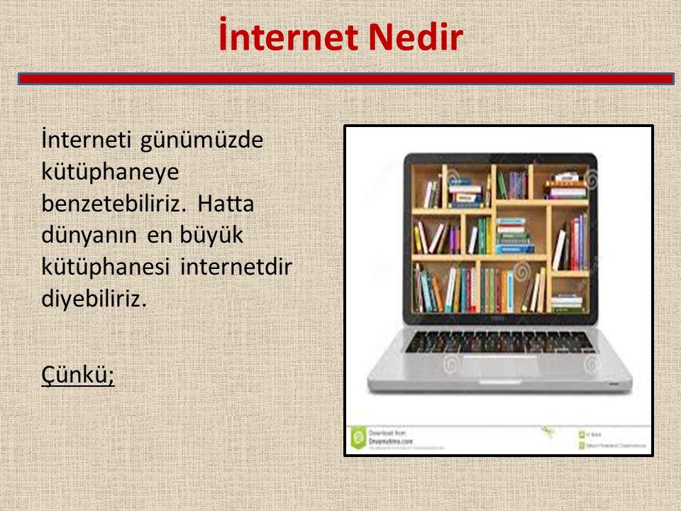 İnternet Nedir İnterneti günümüzde kütüphaneye benzetebiliriz.