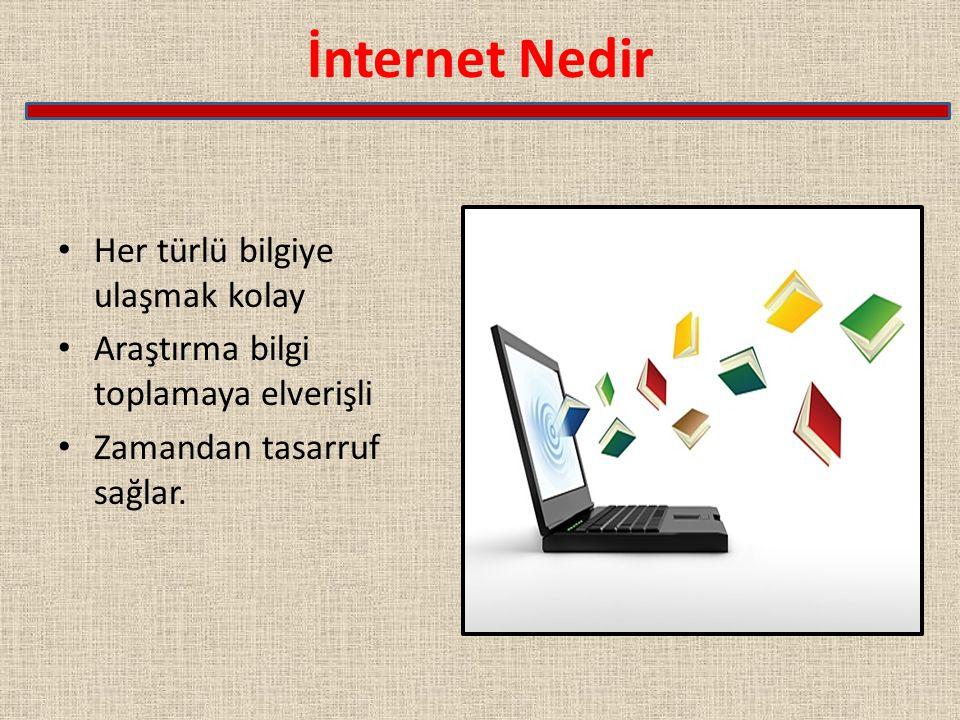 İnternet Nedir Her türlü bilgiye ulaşmak kolay