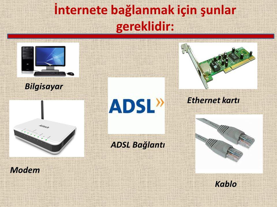 İnternete bağlanmak için şunlar gereklidir: