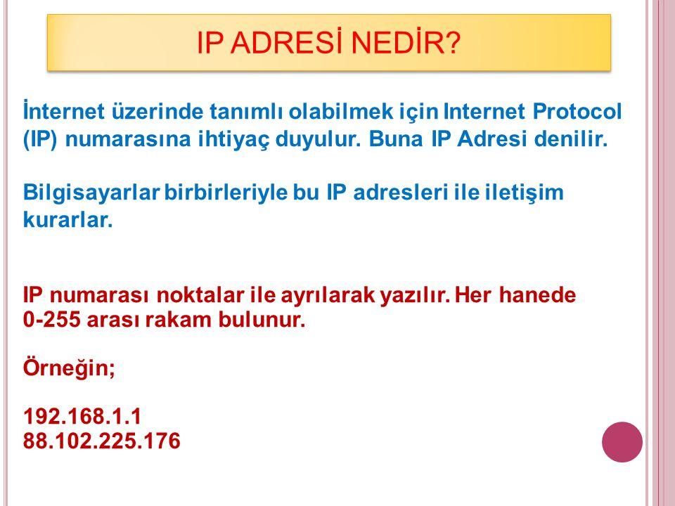 IP ADRESİ NEDİR İnternet üzerinde tanımlı olabilmek için Internet Protocol (IP) numarasına ihtiyaç duyulur. Buna IP Adresi denilir.