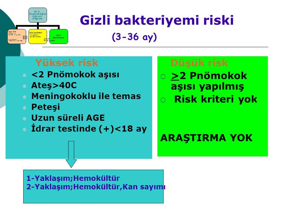 Gizli bakteriyemi riski (3-36 ay)