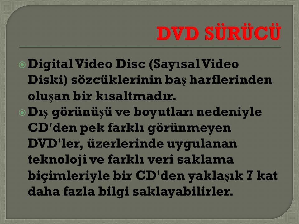 DVD SÜRÜCÜ Digital Video Disc (Sayısal Video Diski) sözcüklerinin baş harflerinden oluşan bir kısaltmadır.