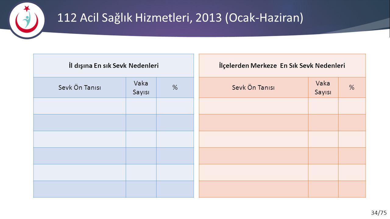 112 Acil Sağlık Hizmetleri, 2013 (Ocak-Haziran)