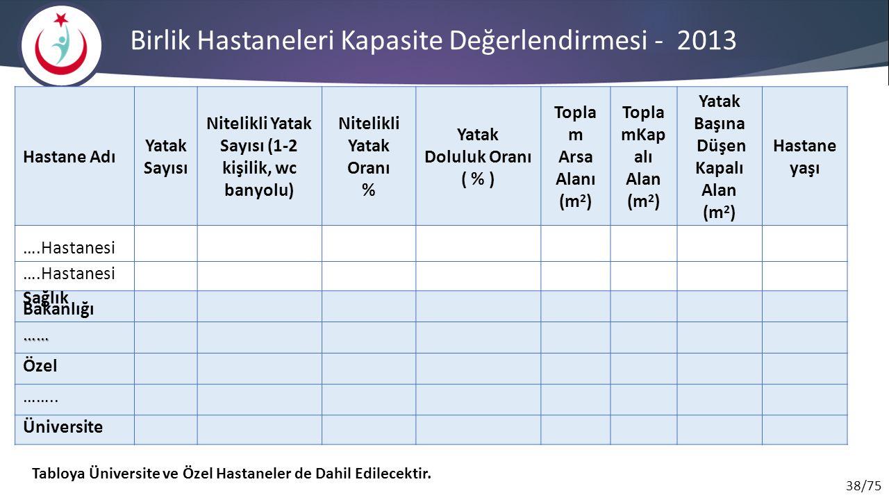 Birlik Hastaneleri Kapasite Değerlendirmesi - 2013