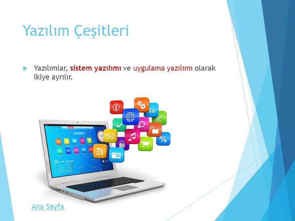 Yazılım Çeşitleri Yazılımlar, sistem yazılımı ve uygulama yazılımı olarak ikiye ayrılır. Ana Sayfa