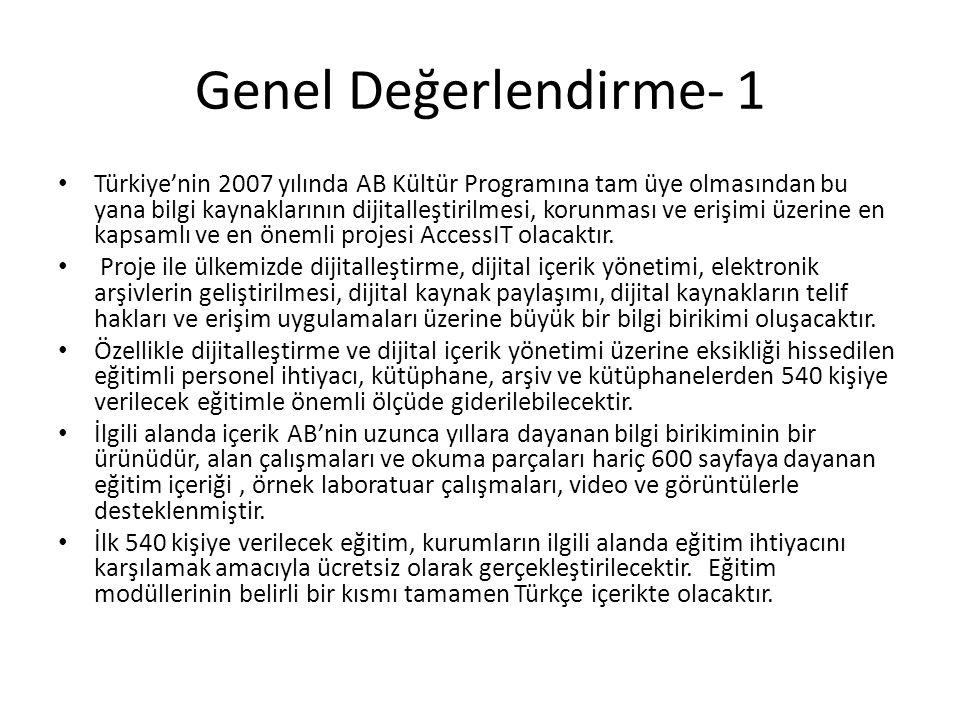 Genel Değerlendirme- 1