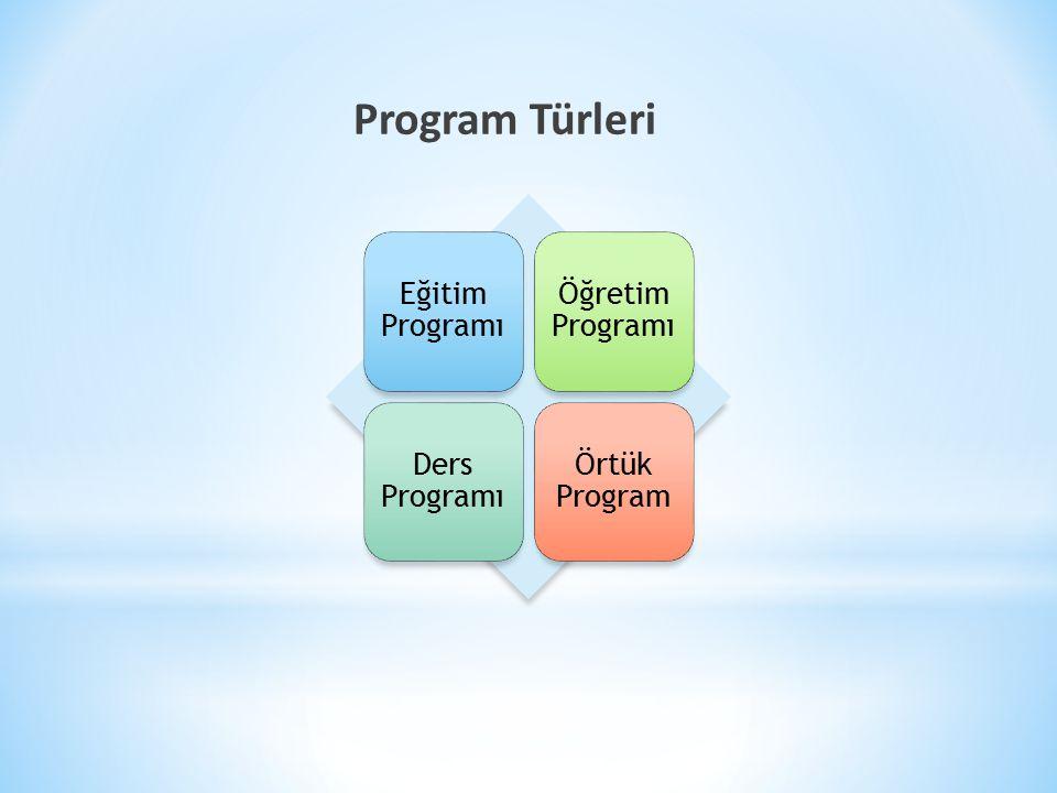 Program Türleri Eğitim Programı Öğretim Programı Ders Programı