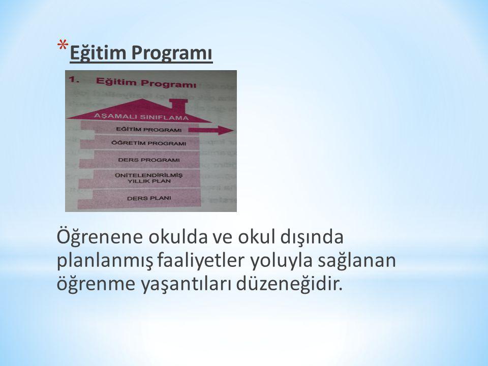 Eğitim Programı Öğrenene okulda ve okul dışında planlanmış faaliyetler yoluyla sağlanan öğrenme yaşantıları düzeneğidir.