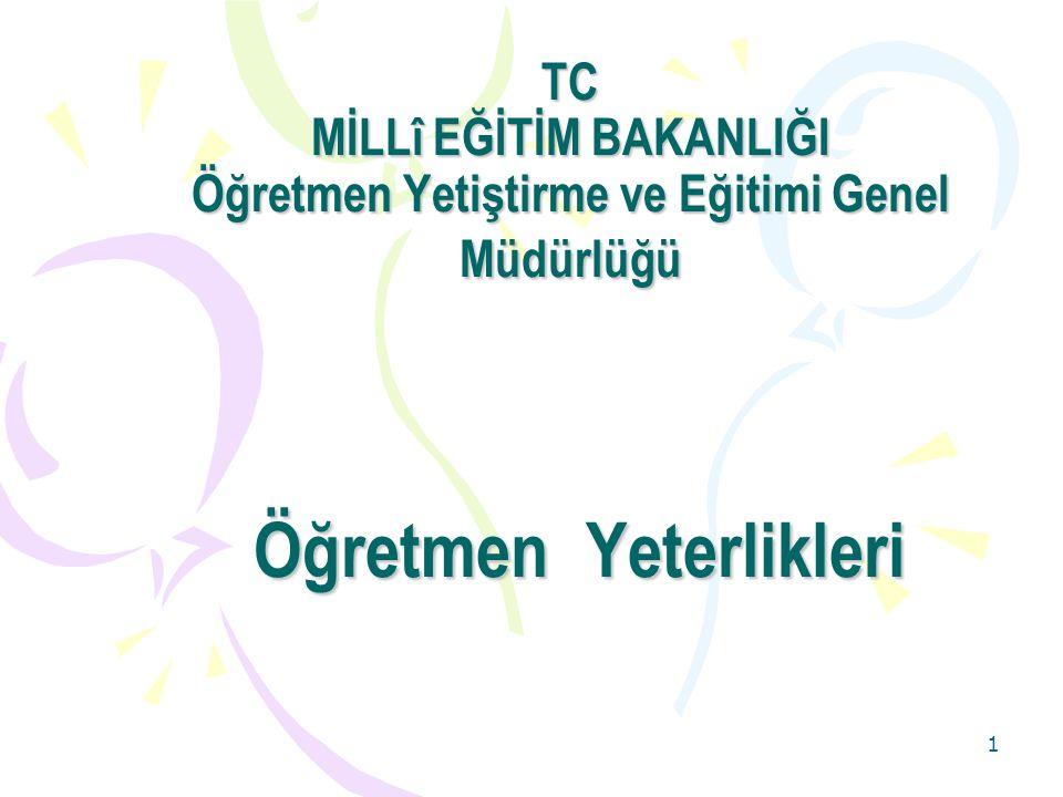 TC MİLLî EĞİTİM BAKANLIĞI Öğretmen Yetiştirme ve Eğitimi Genel Müdürlüğü Öğretmen Yeterlikleri