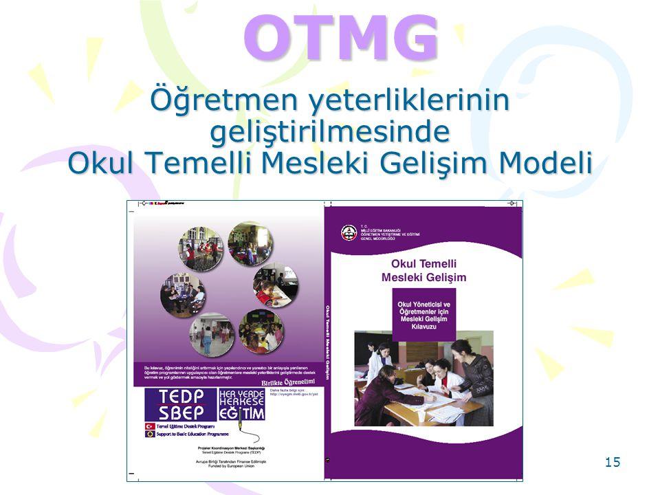 OTMG Öğretmen yeterliklerinin geliştirilmesinde Okul Temelli Mesleki Gelişim Modeli. Okul Temelli Mesleki Gelişim;