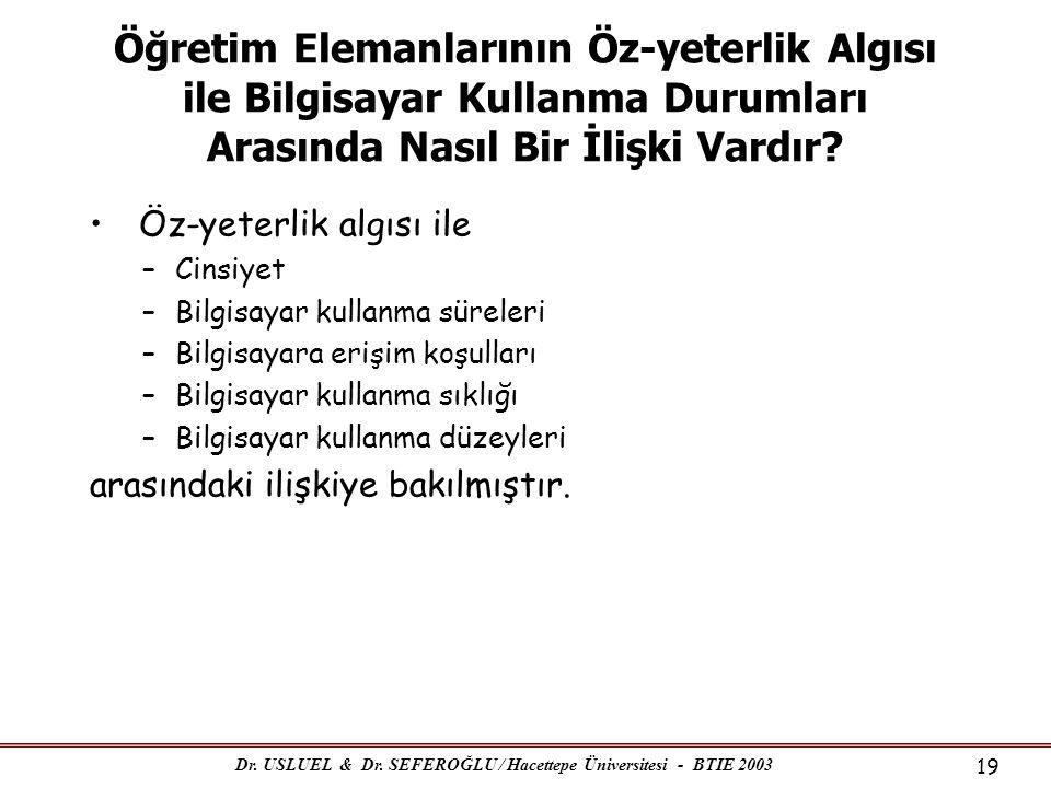 Dr. USLUEL & Dr. SEFEROĞLU / Hacettepe Üniversitesi - BTIE 2003