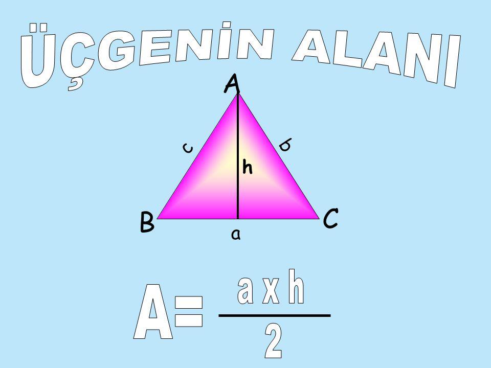ÜÇGENİN ALANI A c b h C B a a x h A= 2