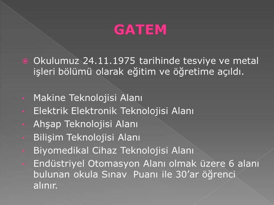 GATEM Okulumuz 24.11.1975 tarihinde tesviye ve metal işleri bölümü olarak eğitim ve öğretime açıldı.