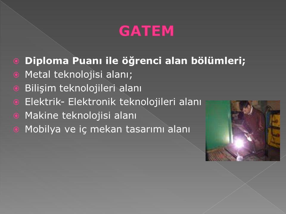 GATEM Diploma Puanı ile öğrenci alan bölümleri;
