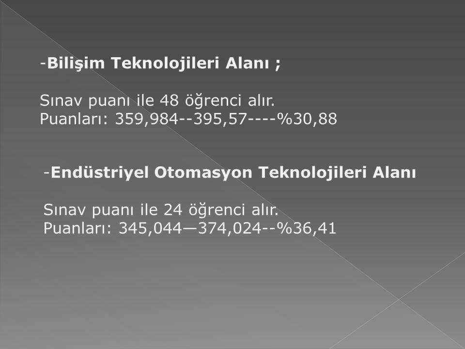Bilişim Teknolojileri Alanı ;