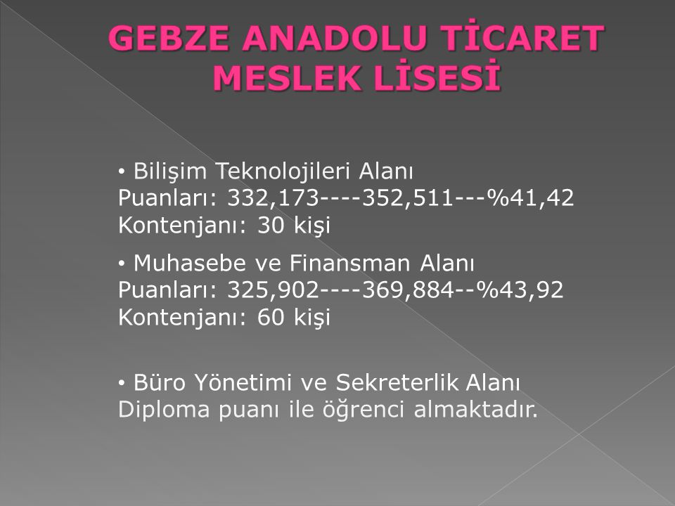 GEBZE ANADOLU TİCARET MESLEK LİSESİ