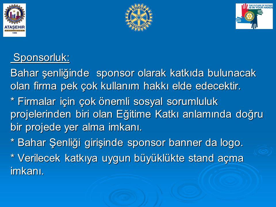 Sponsorluk: Bahar şenliğinde sponsor olarak katkıda bulunacak olan firma pek çok kullanım hakkı elde edecektir.