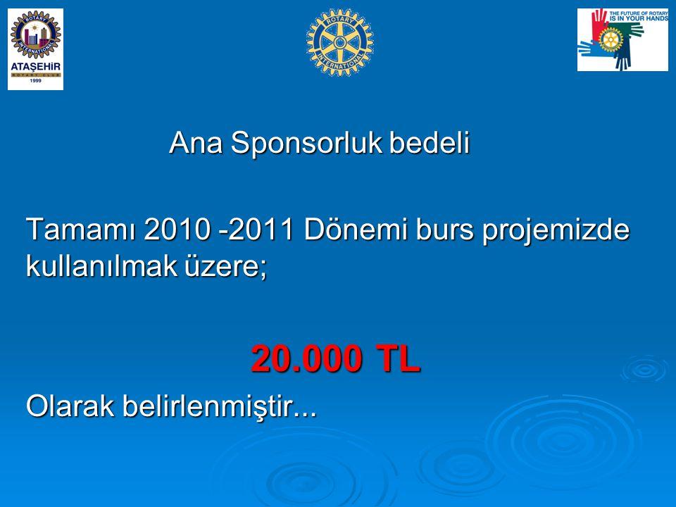 Ana Sponsorluk bedeli Tamamı 2010 -2011 Dönemi burs projemizde kullanılmak üzere; 20.000 TL.