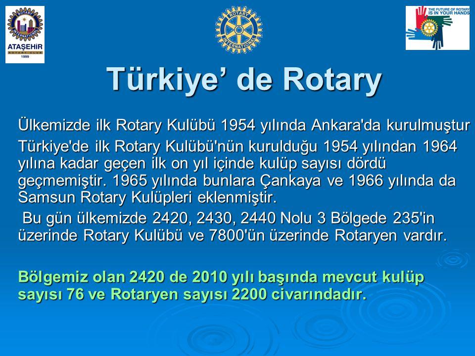 Türkiye' de Rotary Ülkemizde ilk Rotary Kulübü 1954 yılında Ankara da kurulmuştur.