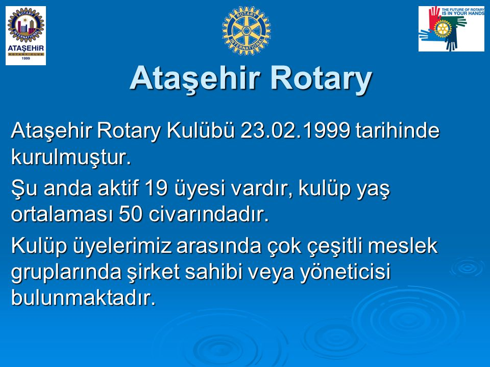 Ataşehir Rotary Ataşehir Rotary Kulübü 23.02.1999 tarihinde kurulmuştur. Şu anda aktif 19 üyesi vardır, kulüp yaş ortalaması 50 civarındadır.