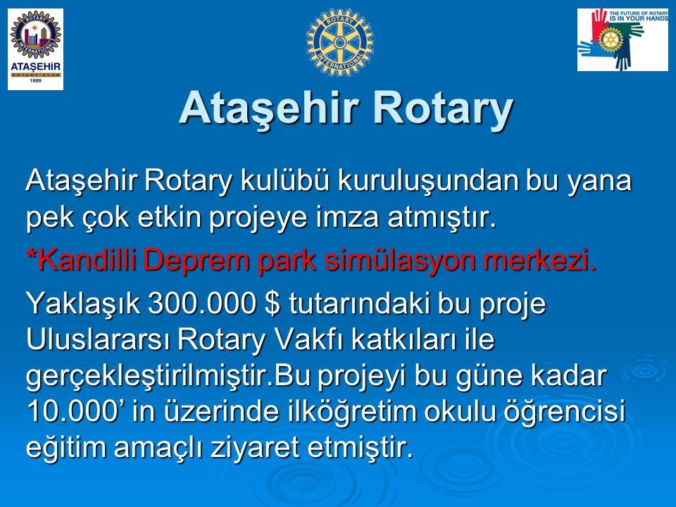 Ataşehir Rotary Ataşehir Rotary kulübü kuruluşundan bu yana pek çok etkin projeye imza atmıştır. *Kandilli Deprem park simülasyon merkezi.