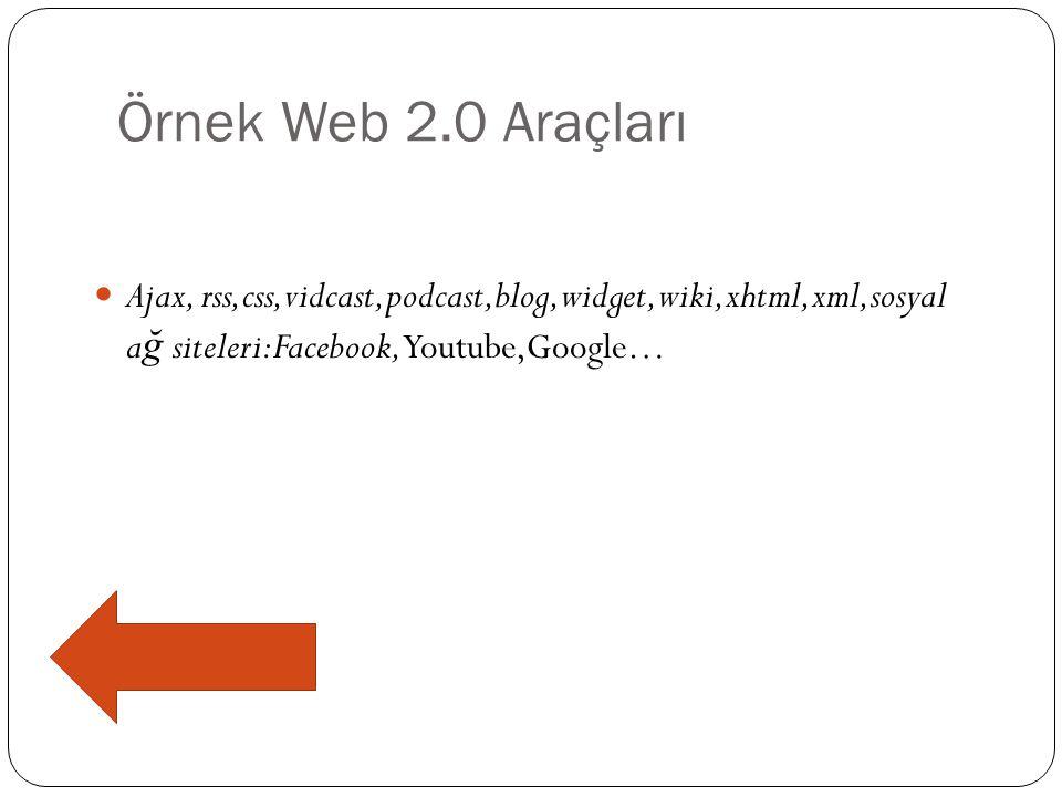 Örnek Web 2.0 Araçları Ajax, rss,css,vidcast,podcast,blog,widget,wiki,xhtml,xml,sosyal ağ siteleri:Facebook,Youtube,Google…