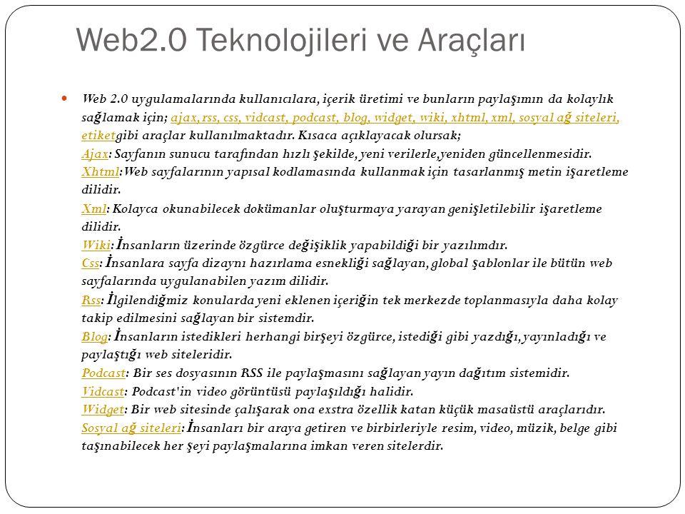 Web2.0 Teknolojileri ve Araçları