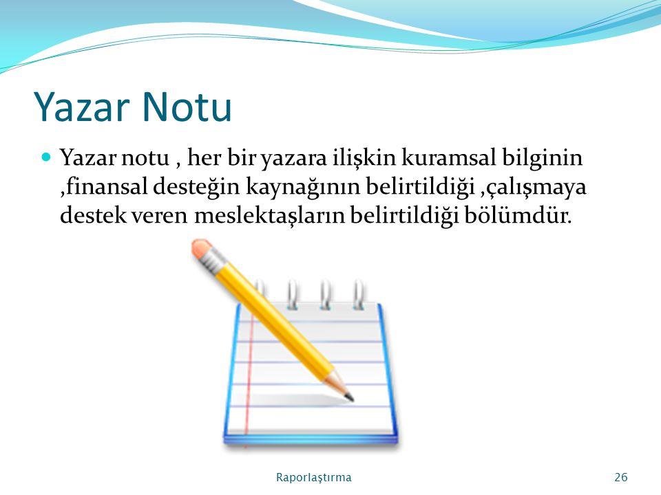 Yazar Notu