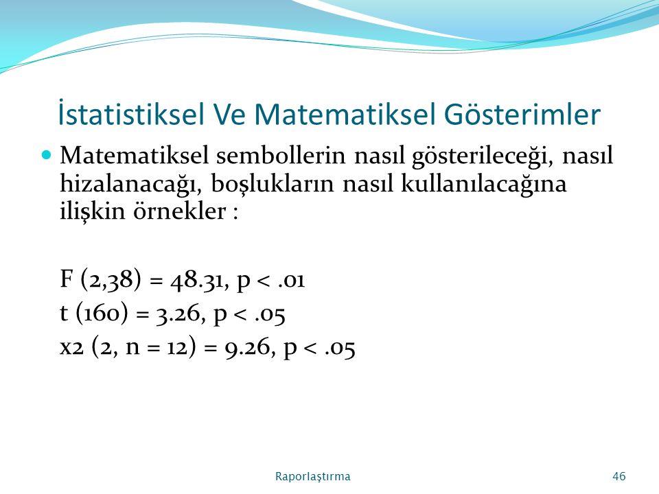 İstatistiksel Ve Matematiksel Gösterimler