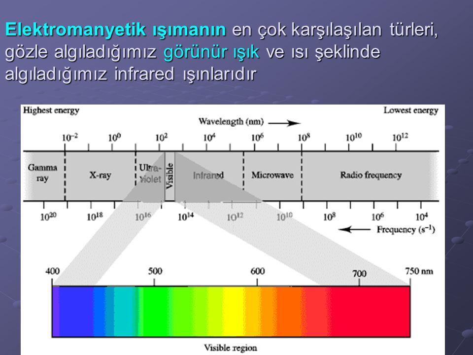 Elektromanyetik ışımanın en çok karşılaşılan türleri, gözle algıladığımız görünür ışık ve ısı şeklinde algıladığımız infrared ışınlarıdır