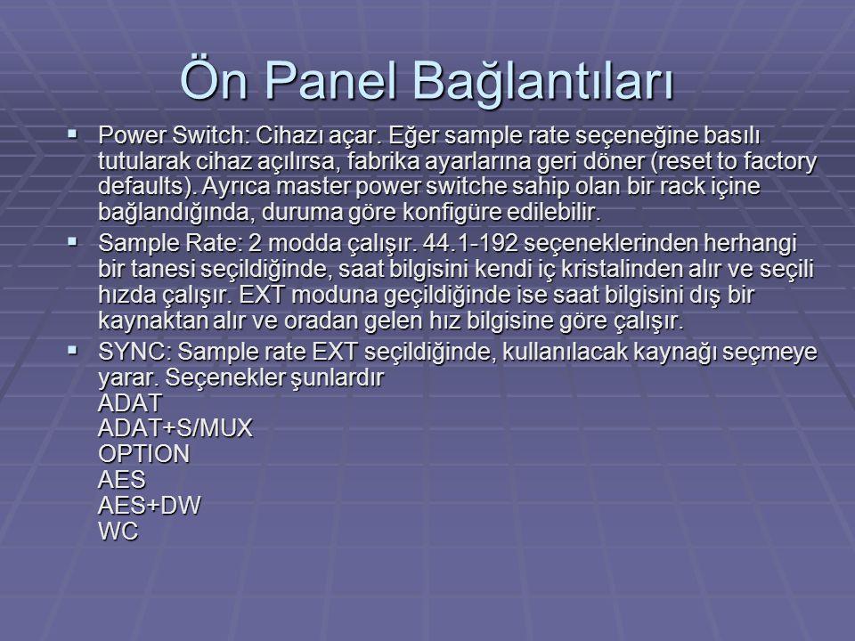 Ön Panel Bağlantıları