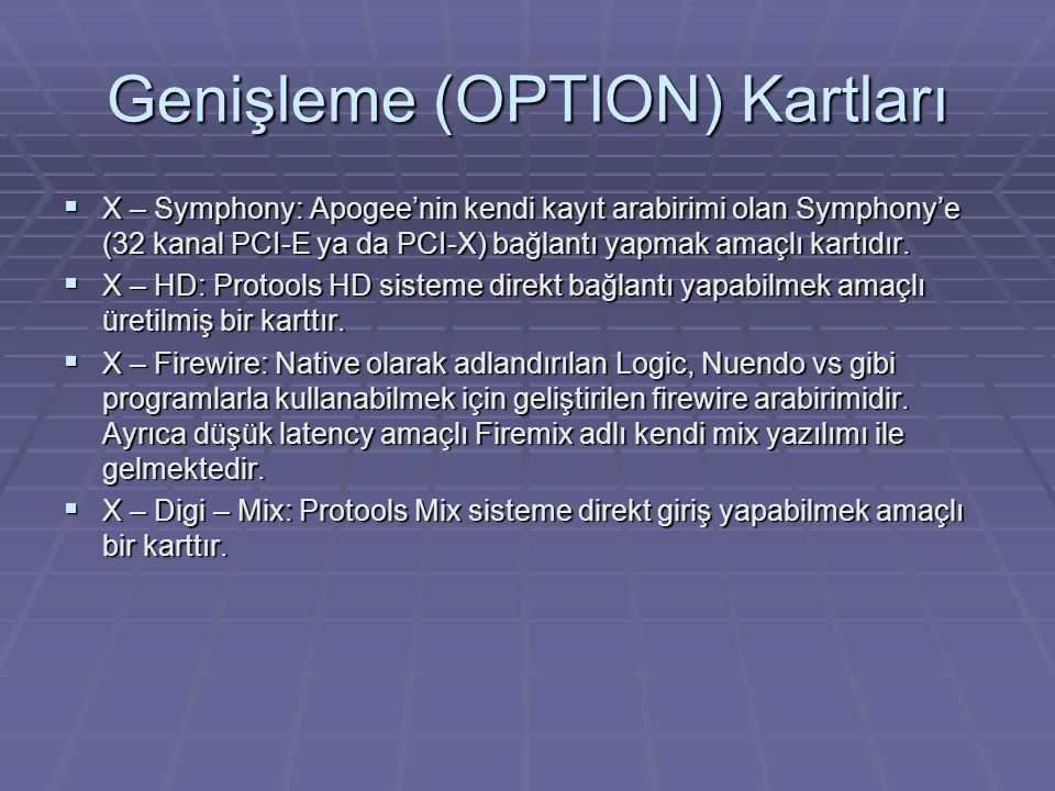 Genişleme (OPTION) Kartları